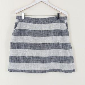 A New Day Blue & White Striped Skirt Pockets XL